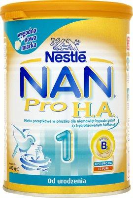 Nestle NAN PRO 1 HA Mleko początkowe w proszku dla niemowląt, wzbogacone w żelazo , od urodzenia, 400 g