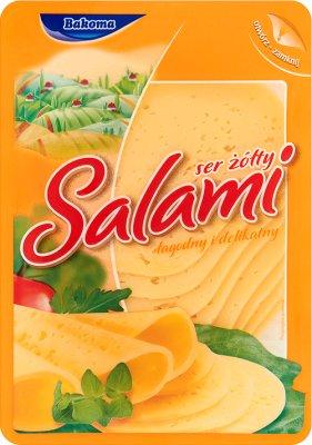 Bakoma ser żółty w plastrach salami, 150 g