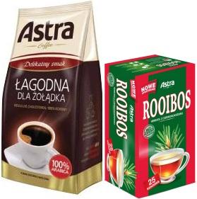 Astra  Łagodna kawa mielona 100% Arabica+ Astra herbata Rooibos 25 torebek Delikatny smak, 250 g