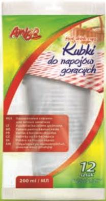 Amigo Kubki do napojów gorących 200 ml, 12 sztuk
