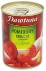 Dawtona tomates en rodajas en una lata con ajo