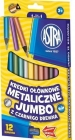 Astra Coloured pencils metallic Jumbo with black wood 12 colors with sharpener
