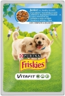 Friskies Junior Komplettes Hundefutter für Welpen-Beutel mit Huhn und Karotten-Sauce