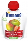 Humana 100% Органический мусс яблочно-грушевый-клубничный