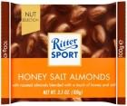Chocolate con leche Ritter Sport con almendras tostadas y saladas en un recubrimiento con sabor a miel