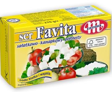 Mlekovita Ser Favita typu feta z mleka krowiego, żółta - 12% tłuszczu