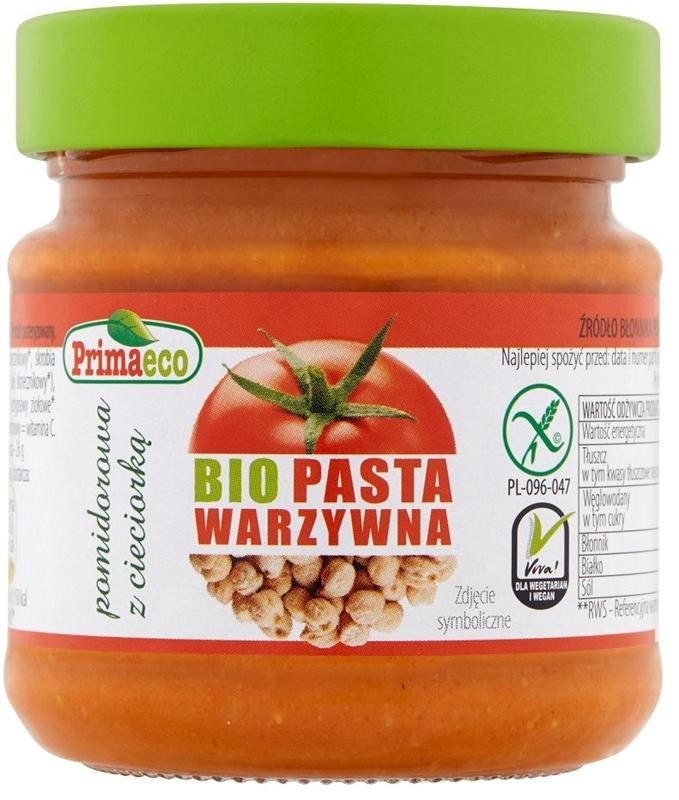 Primaeco pasta warzywna pomidorowa z cieciorką bezglutenowa BIO