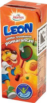 Leon (Hortex) napój dla dzieci, w kartoniku ze słomką jabłka, brzoskwinie, pomarańcze