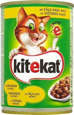 Kitekat - kawałki karmy w sosie, dla kotów - puszka  z kurczakiem