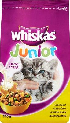 Whiskas Junior - sucha karma dla kotów w wieku od 1 do 12 miesięcy - worek z kurczakiem i mięsnymi pasztecikami