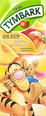 Tymbark sok 100% w kartoniku ze słomką jabłkowo - brzoskwiniowy