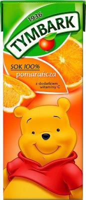 Tymbark sok 100%, kartonik 200ml ze słomką pomarańczowy