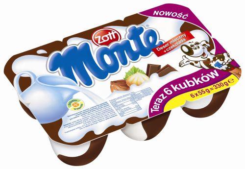 Monte Zott deser mleczny z czekoladą 6 kubków