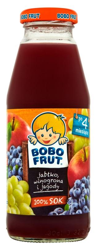 Bobo Frut sok 100%  jabłko - winogrono - jagoda