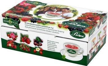BiFix Herbatka owocowa ekspresowa 6 smaków x 10 saszetek po 2 g w hermetycznych kopertach