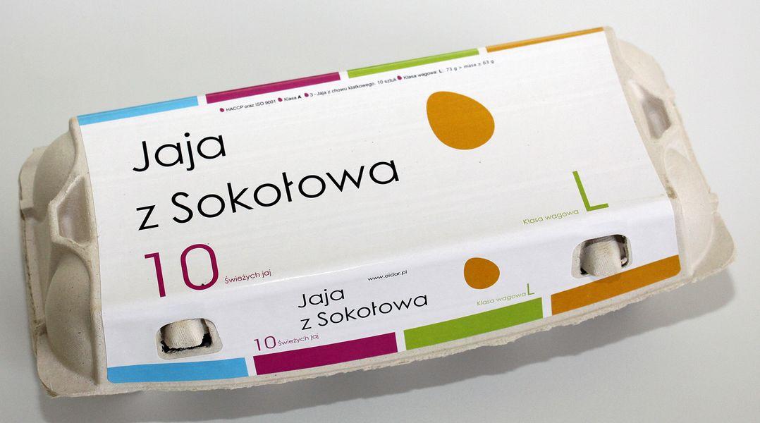 Oldar jaja z Sokołowa z chowu klatkowego klasy AL