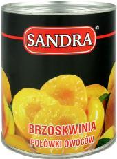 Sandra brzoskwinia w lekkim syropie polówki owoców bez konserwantów