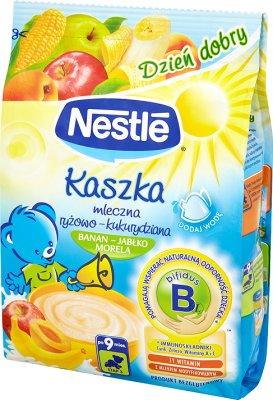 Nestle kaszka mleczna ryżowo-kukurydziana  banan-jabłko-morela, Bifidus BL, 11 witamin z mlekiem modyfikowanym