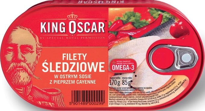 King Oscar Filety śledziowe w ostrym sosie z pieprzem cayenne