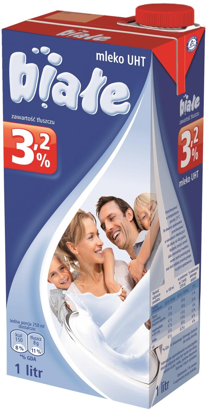 Białe mleko UHT 3.2% tłuszczu