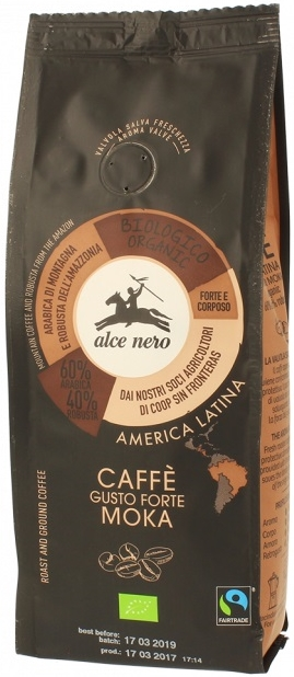 Alce Nero Forte Moka strong BIO kawa mielona