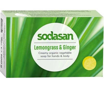 Sodasan Cosmetics ekologiczne mydło o zapachu trawy cytrynowej  i imbiru BIO