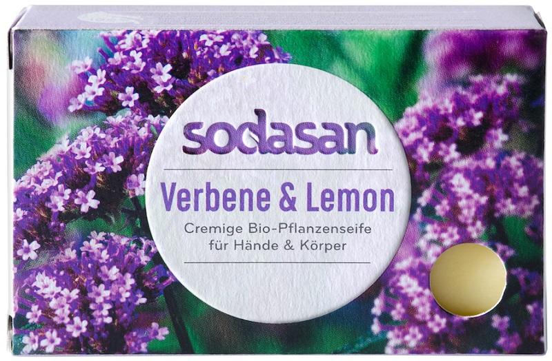 Jabón de cosmética orgánica con el aroma de la verbena bio