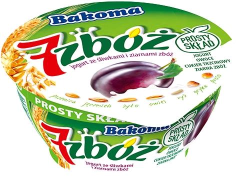 Bakoma 7 zbóż jogurt ze śliwkami i ziarnami