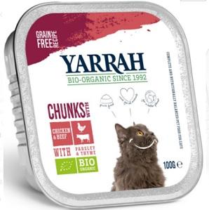 Yarrah karma dla kotów kawałki kurczaka z wołowiną BIO