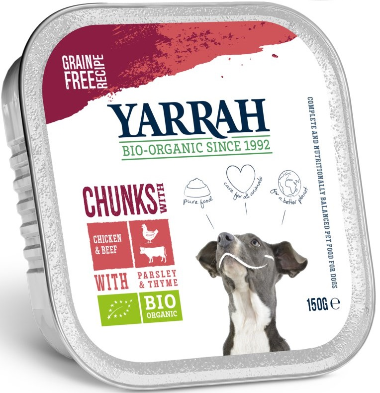 Yarrah karma dla psów kawałki kurczaka z wołowiną BIO
