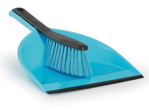 York Zmiotka + szufelka z gumą CLIP niebieska