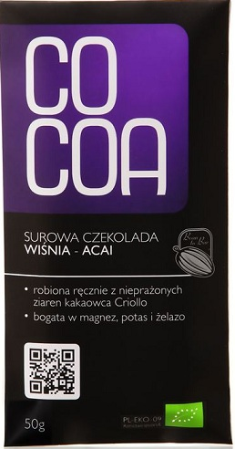 Cocoa czekolada surowa BIO wiśnia-acai