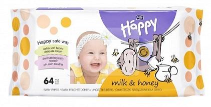 Bella Baby Happy chusteczki nasączone Milk & Honey PH 5,5 neutralne