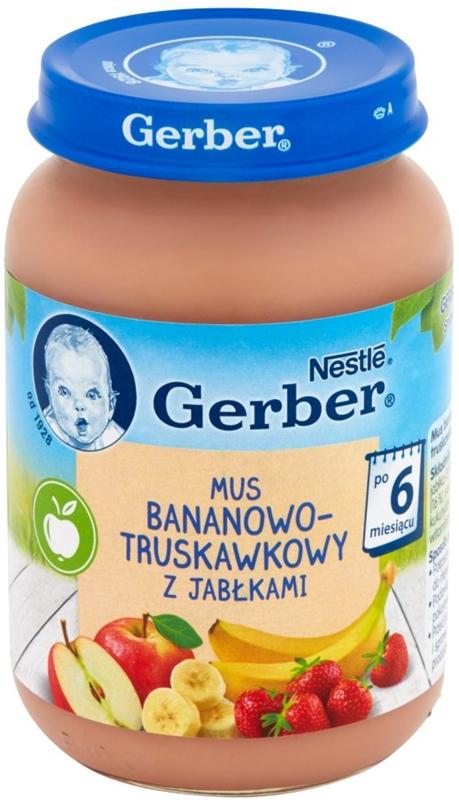 Gerber deserek mus bananowo - truskawkowy z jabłuszkami