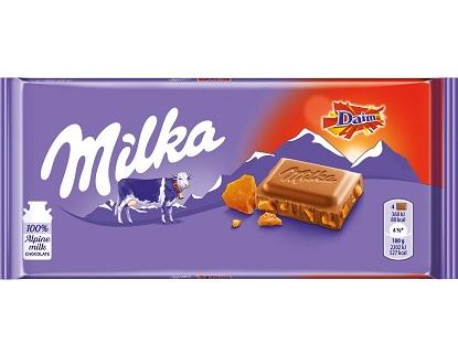 Milka for you&me Daim  czekolada mleczna z kawałkami chrupiącego karmelu maślano- migdałowego
