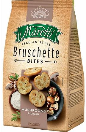 Bruschette Maretti, Knäckebrot, Pilze und Sahne