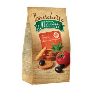 Bruschette Maretti chrupki chlebowe pomidory, oliwki i oregano