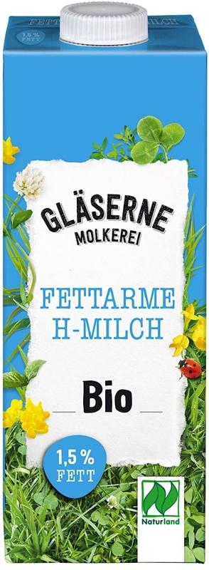 Mleko ekologiczne 1,5% tłuszczu Glaserne Meierei BIO, UHT