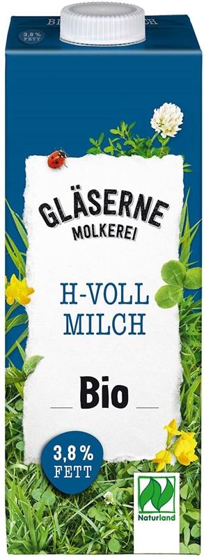 Mleko ekologiczne 3,5% tłuszczu Glaserne Meierei BIO, UHT