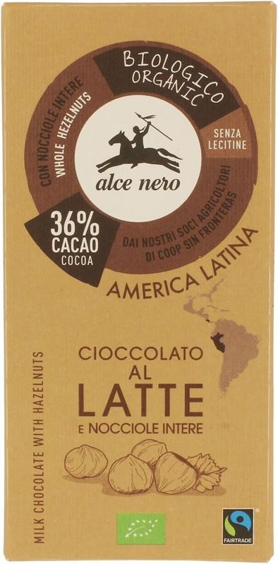 Alce Nero czekolada mleczna z orzechami BIO