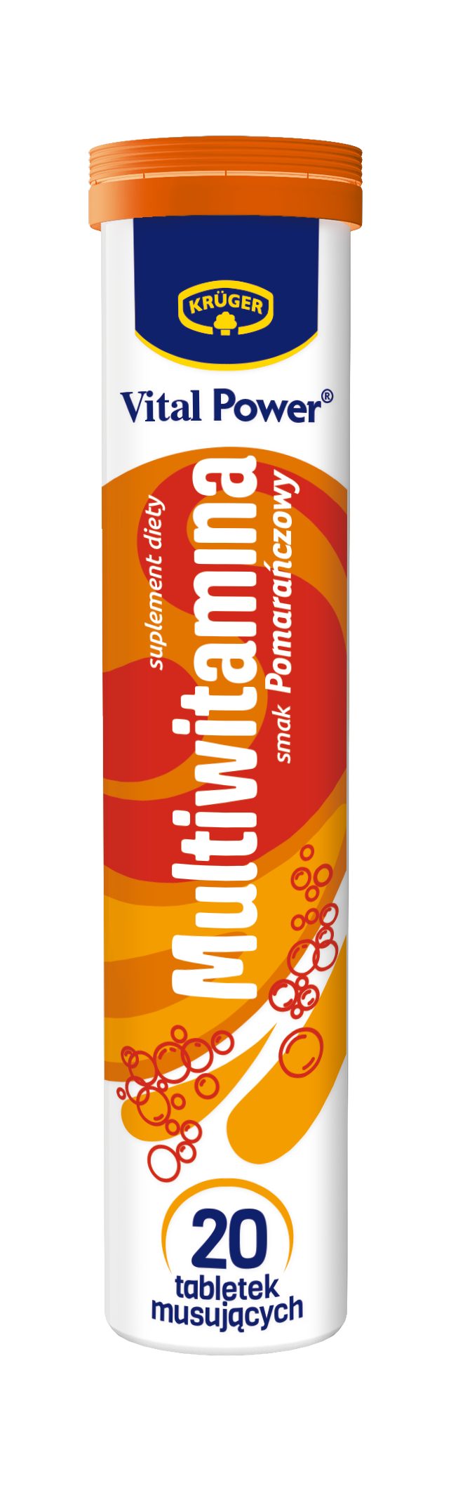 Krüger Multiwitamina Suplement diety. Tabletki musujące o smaku pomarańczowym