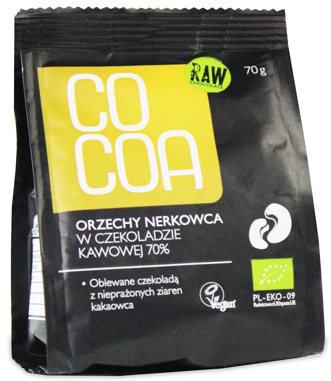 Cocoa orzechy nerkowca w surowej czekoladzie kawowej 70% BIO