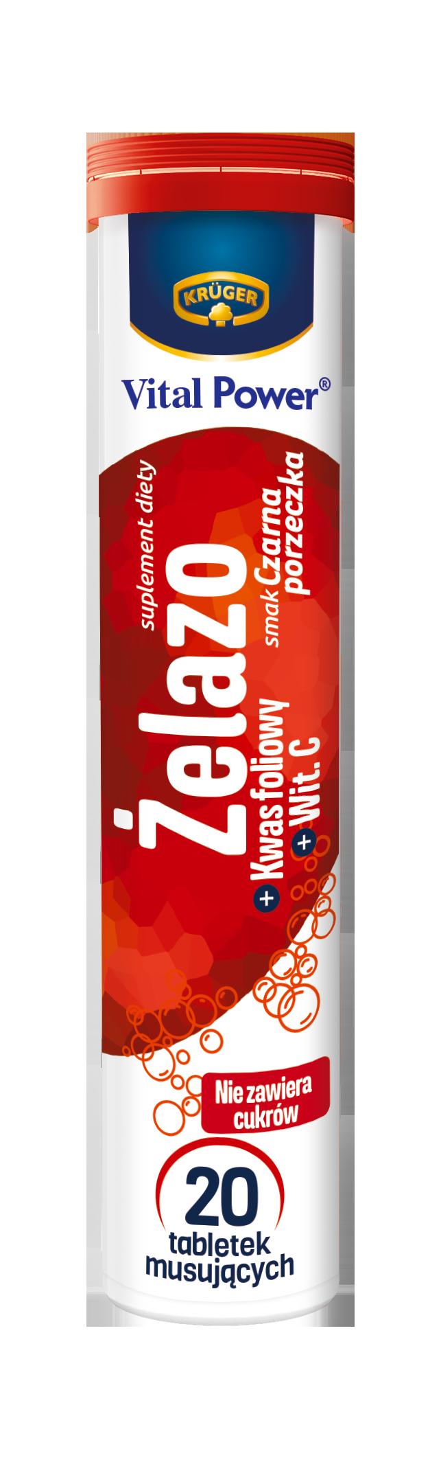 Krüger Żelazo + kwas foliowy + wit. C Suplement diety. Tabletki musujące o smaku czarnej porzeczki