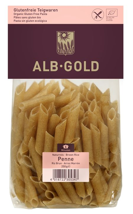 Alb Gold penne pasta with brown rice gluten free BIO