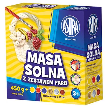 Astra masa solna 450g+ 6 farb   3 kolory farb plakatowych 3  farb metalicznych