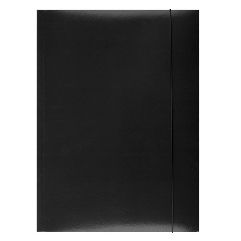 Ok Office Teczka A4 z gumką lakierowana czarna