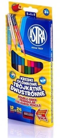 Astra Kredki ołówkowe dwustronne trójkątne 12 sztuk/24 kolory z temperówką
