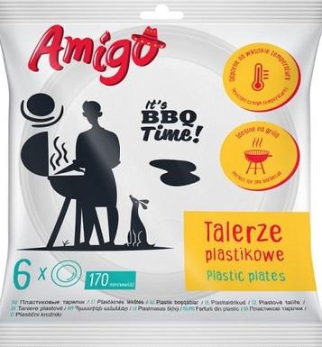 Amigo Talerzyki plastikowe 220 mm, 6 sztuk
