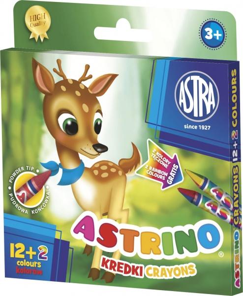 Astra Kredki świecowe Astrino 12 kolorów + 2 kolory tęczowe