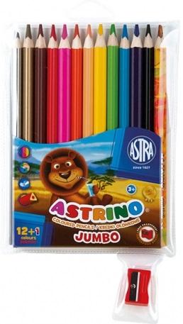 Astra Kredki ołówkowe Astrino trójkątne Jumbo 12+1 kolor gratis z temperówką